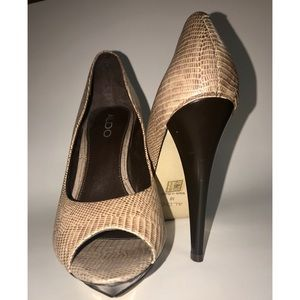 Aldo Animal Print Brown & Tan Peep Toe Heel Sz 8